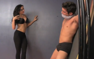 Hot Domme Gags A Sub And Tortures His Junk