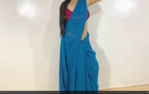 Desi wife in blue saree standing fuck