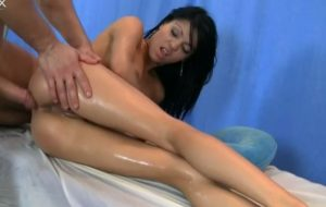 Sexy Brunette Oiled By Masseur Who Fucks Her Pussy Brutally
