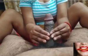 Desi woman playing with big Indian dick