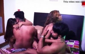 Group sex of horny Indian couples in hotel